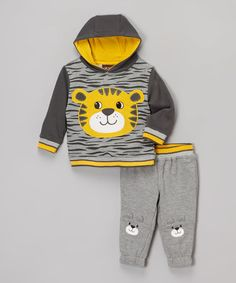 Love this Gray & Yellow Tiger Hoodie & Sweatpants - Infant on #zulily! #zulilyfinds