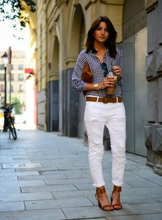 Alexandra Pereira nails the laid-back summer vibe with ripped jeans and a gingham button up. #Fashion #Summerstyle