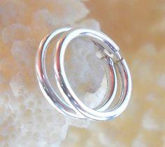925 Sterling Silver Tube Hoop Earrings Piercing Ring,Cartilage,Helix,Tragus,Ear Hoop,Endless Hoop Pair