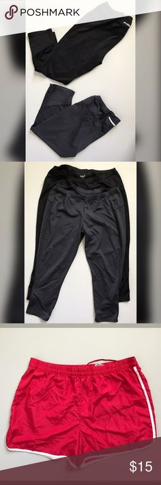 Athletic bundle 🛍 Old navy Capri active leggings in black and grey with back zip pockets   Ⓜ️Size M  Pink Athletic running shorts with white trim   Ⓜ️Size Large (12/14)  worn few times  📥Feel free to ask questions or requests additional photos  📥Will consider reasonable offers  🚫 No trades Pants Track Pants & Joggers