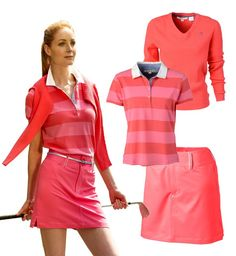One of our Ladies Carnation Themed outfits. She is wearing Rodez- Knitwear, Sospel- Poloshirt and Isola the skort.