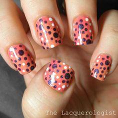 The Lacquerologist: pokadot mani tutorial/ picture polish shades-watermelon,attitude, tango