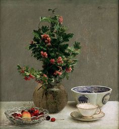 """Still Life w/ a Vase of Hawthorn, Bowl of Cherries, Japanese Bowl, a Cup & Saucer"" -- 1872 -- Henri Fantin-Latour -- French -- Oil on canvas -- Dallas Museum of Art. Henri Fantin Latour, Painting Still Life, Still Life Art, Japanese Bowls, Gustave Courbet, French Flowers, Fruit Painting, European Paintings, Oil Painting Reproductions"