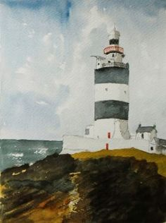 Lighthouse at Hook head, An original watercolour painting, from Wexford Ireland. Lovely Gift by Julian Lovegrove Art