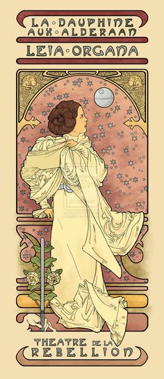 """La Dauphine Aux Alderaan Color"" by *khallion on deviantART, inspired by Alphonse Mucha's ""La Dame Aux Camelias"".....and George Lucas' Star Wars...."