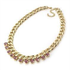 ♥ Rose Pink Crystal Gem Chain Choker/Collar/Necklace - £12