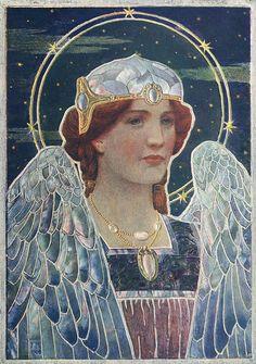 "Vintage illustration by Frederick Marriott (1860 -1941).   ""Angel Of Night"""