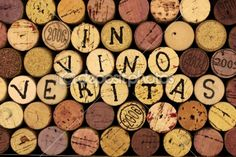 """I love wine corks and I love this saying.  Translated it means """"In wine there lies truth.""""  From depositphoto.com"""