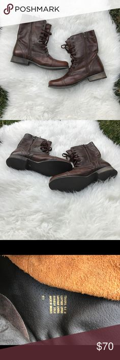 • Steve Madden NEW Troopa combat boots size 9 • Brand new with tag leather brown combat boots women's 9. No flaws, never worn! Steve Madden Shoes Combat & Moto Boots