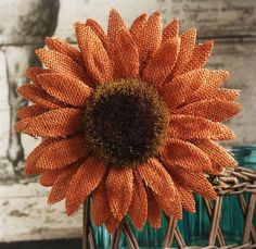 Clip this one on to the edge of a plastic container! Orange Burlap Sunflower with Clip