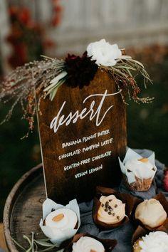 Wooden dessert sign