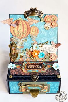 Arlene Cuevas for G45 using Steampunk Spells collection to make an  Easel Card Box w/tutorial; August 2013