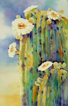 Resultat d'imatges de cactus composition watercolor