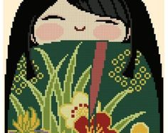 Kokeshi Girl Doll 1 - MINORI - a Japanese name that means truth.    Stitch Count: 80 width x 170 height  Fabric colour: White or Cream 19 DMC