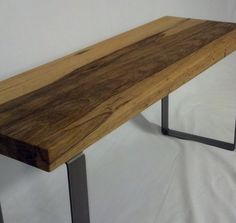Exotic wood Entryway Bench with Steel Legs. by ironlandon on Etsy