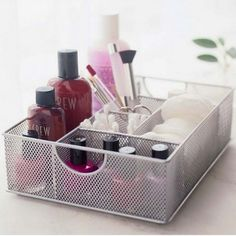Design Ideas Mesh File Vanity Organizer/Tray, Silver Design Ideas Vanity Organizer Organize cosmetics and other items in six different compartments Made of durable, dust-defying stainless steel mesh Organizer Makeup, Vanity Organization, Makeup Storage, Storage Organization, Storage Ideas, Hair Tie Storage, Bedroom Organisation, Office Storage, Storage Boxes