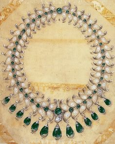The sketch  of diamond and emerald necklace in Platinium by Van Cleef and Arpels for HRH Maharani Sita Devi of Baroda