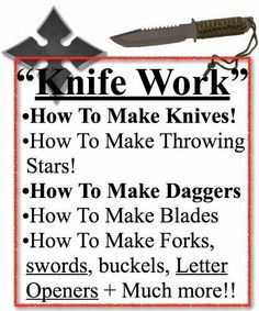 How To Make Knife | How To Make Knives | Advanced Knife Work | Knife Blades | Knives or Knives by Warrior. $3.59. Showing a step-by-step blue print to make knives.Step-by-step blue print to make throwing stars.Step-by-step manual to make all types of weapons down to forks, letter openers and swords.Valued at $9.50                            Show more                               Show less