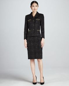 Tweet Skirt Suit, Black/Gold  by Tahari at Neiman Marcus.