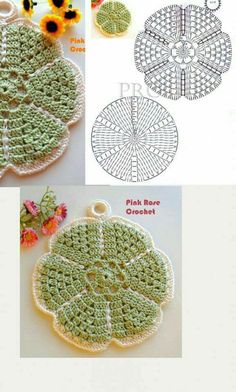 Flower Potholders Coasters [Free Crochet Pattern and Tutorial] Crochet Hot Pads, Crochet Diy, Crochet Chart, Crochet Home, Crochet Motif, Crochet Doilies, Crochet Stitches, Crochet Potholders, Crochet Blocks