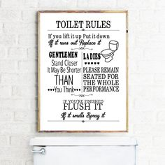 Toilet Rules Wall Art Canvas Painting Modern Funny Bathroom Rules Sign Poster Prints Toilet Humour Picture Bathroom Home Decor Bathroom Rules, Bathroom Wall Art, Bathroom Humor, Washroom, Bathroom Ideas, Bathroom Posters, Downstairs Bathroom, Bathroom Cabinets, Cupboards