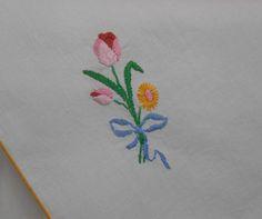 Tulips Vintage Dresser Set 3 Piece Embroidered Pink Blue Green