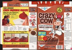 general mills cereal boxes | General Mills - Crazy Cow Chocolate cereal box - Crazy Message Maker ...