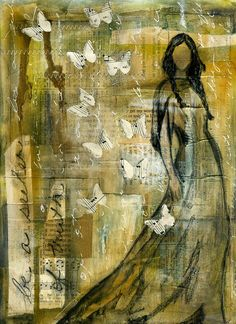 A print of the artist's original mixed media painting. Jean Oliver Designs. Inspirational use of book pages and sheet music.