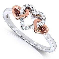 """mylovejewel: """" ✦✦♥ Heart Shaped Diamond Ring 1/10 Carat (ctw) in 10k Two-Tone…"""