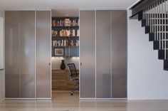 Sliding Glass Door Design Parade for Your Modern Home: Closet Styled Frosted Glass Doors To Tuck Away Home Office Space With White Interior . Sliding Door Room Dividers, Sliding Door Design, Room Divider Doors, Sliding Closet Doors, Sliding Glass Door, Glass Doors, Sliding Panels, Sliding Wardrobe, Glass Walls
