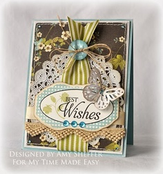 Card set designed in the colors of chocolate, teal, spring green, and cream.