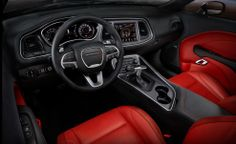 Red leather inside of the newly redesigned 2015 Dodge Challenger