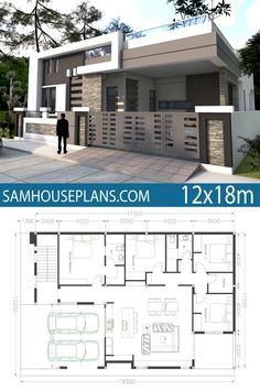 Home Design with 4 Bedrooms Sam House Plans is part of House plans - One Story House Plan Sketchup Home Design This villa is modeling by SAMARCHITECT With 1 stories level It's has 4 bedrooms Porch House Plans, House Plans One Story, Story House, Single Floor House Design, Small House Design, Modern House Design, Modern Houses, Small Modern House Plans, Modern Floor Plans