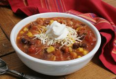 Taco soup. My recipe is a little different, but the ranch flavor in this might be a new football-watching favorite!