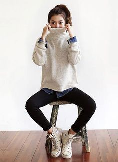 platform sneakers, skinny's, and big sweater