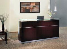 Mayline Wood Veneer Napoli Mahogany Reception Desk w/ Frosted Glass Counter #Mayline