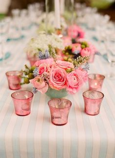 love this pretty pink on baby blue striped tableclothe...very summer hamptons.