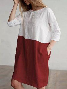 Linen Tunic Dress, Linen Dresses, Shirt Dress, Tunic Dresses, Red Tunic, Sleeveless Dresses, Midi Dresses, Types Of Sleeves, Dresses With Sleeves