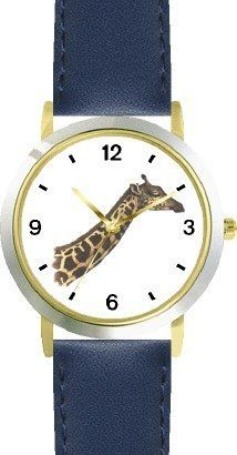 Giraffe Head and Neck - JP - African Animal - WATCHBUDDY® DELUXE TWO-TONE THEME WATCH - Arabic Numbers - Blue Leather Strap-Children's Size-Small ( Boy's Size & Girl's Size ) WatchBuddy. $49.95