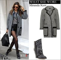 WHAT SHE WORE: Miranda Kerr in grey boucle coat with black trims and black leather embroidered boots in New York ~ I want her style - What c...