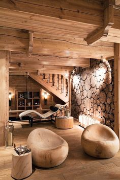 Love the natural look of this room. Really warm! I want a cabin now..#interior #design