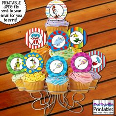 Dr. Seuss CUPCAKE TOPPERS Dr. Seuss by PartyvillePrintables