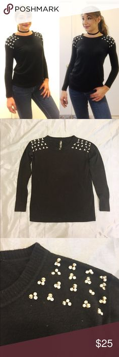 Jeweled Shoulder Black Fuzzy Sweater Add a little dazzle to your sweater collection with this luxe soft classic crew neck black sweater. The mixed media beading on the shoulder combines pearls, stones, and studs for the perfect mix of sweet and sassy. So many outfit options! Wear with jeans or a pencil skirt; looks amazing with a button down collared shirt underneath!! From the Pretty Little Liars collection at Aeropostale. Aeropostale Sweaters Crew & Scoop Necks