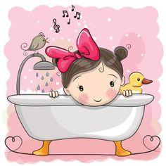 Imagens, fotos stock e vetores similares de Cute cartoon Teddy Bear in the bathroom - 644945977 Art Drawings For Kids, Cute Drawings, Art For Kids, Cute Cartoon Girl, Cartoon Pics, Page Borders Design, Bible Doodling, Unicorn Pictures, Baby Room Art