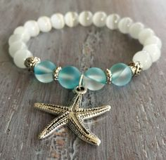 Starfish Bracelet Boho Jewelry Gemstone Beaded by indietiez                                                                                                                                                     More