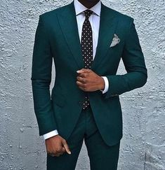 Dark Green Wedding Tuxedos Slim Fit Men s Business Suit Jacket Pants Men s Suits Two Buttons Wedding Suits Groomsmen Tuxedos Mens Fashion Suits, Mens Suits, Mens Fashion 2018, Costume Africain, Style Costume Homme, Groomsmen Tuxedos, Ushers, Dinner Suit, Groom Tuxedo