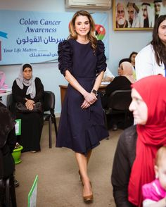 Queen Rania of Jordan joined the Doctors of Jordan's open free medical day at Zai in Al Balqa' Governorate, on Monday, to discuss the group's volunteering efforts.