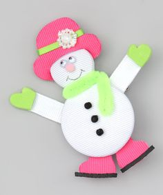 Take a look at this White & Pink Snow Girl Clip by Picture Perfect Hair Bows on #zulily today!