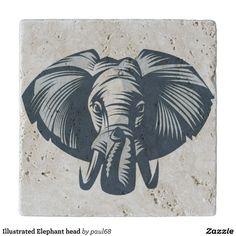 Illustrated Elephant head Trivet
