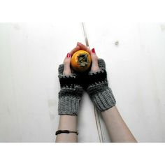 Striped fingerless mittens, crochet fingerless gloves, fingerless... (€23) ❤ liked on Polyvore featuring accessories, gloves, mitten gloves, fingerless mitts, fingerless mittens, woolen gloves and crochet fingerless mittens